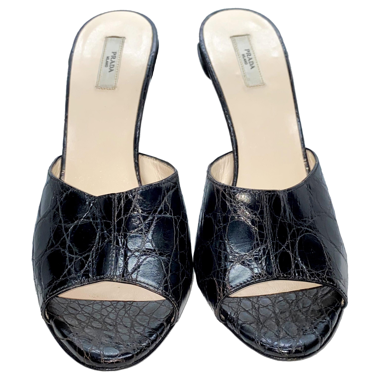 Unique Prada Flower Heel Exotic Black Crocodile High Heel Sandals Mules
