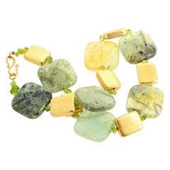 Unique Prehnite, Peridot and Goldy Necklace