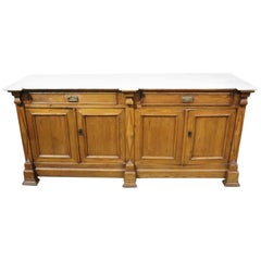 Unique Primitive Swedish Gustavian Marble Top Sideboard Kitchen Island Buffet