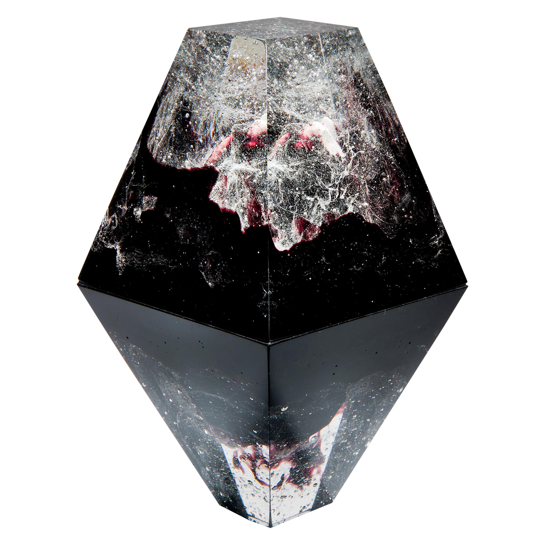 Unique Purple, a Clear and Purple Cast Glass Sculpture by Lene Tangen