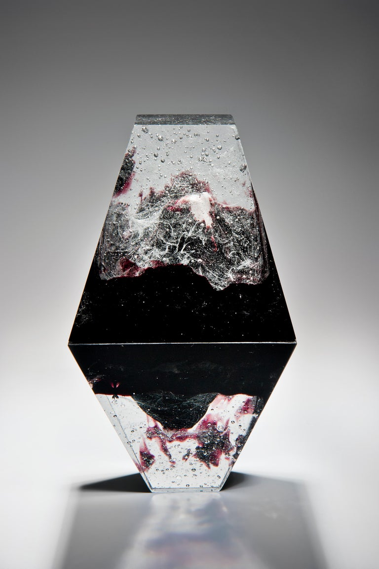 Organic Modern Unique Purple, a Clear and Purple Cast Glass Sculpture by Lene Tangen For Sale
