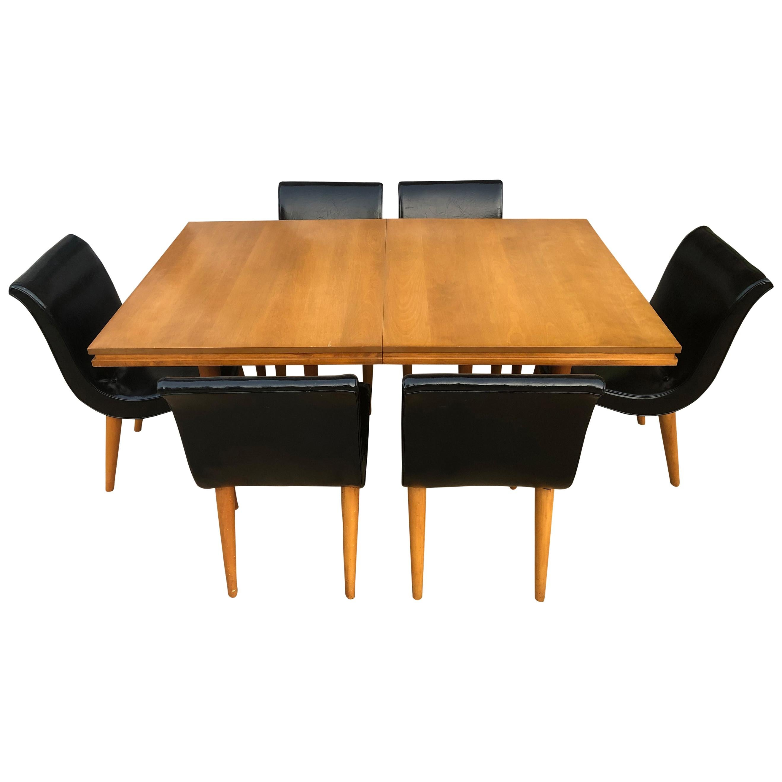 Unique Rare Russel Wright Maple Dining Table Set With 6 Black Scoop Chairs