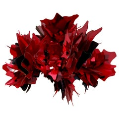 Unique Red Crystal Flower Ceiling Lamp