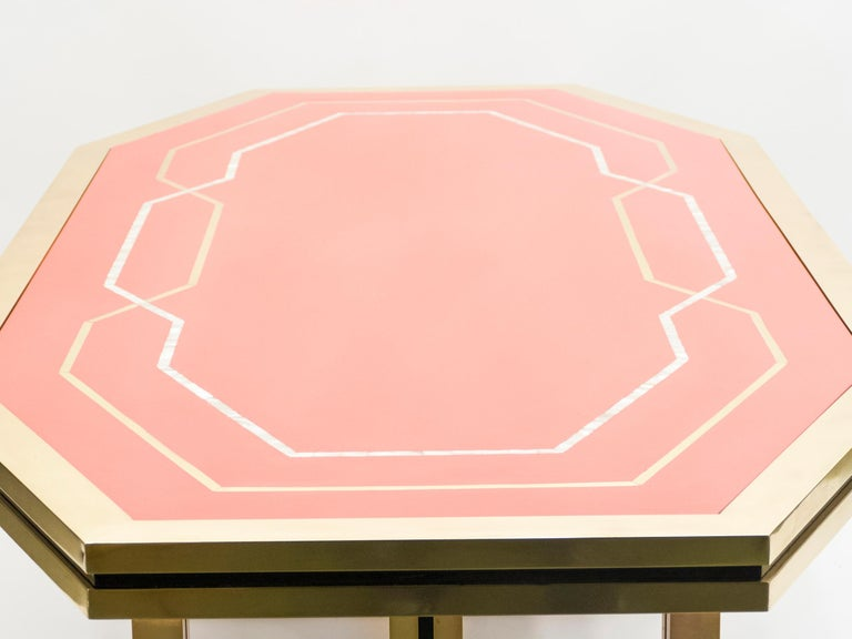 Unique Red Lacquer and Brass Maison Jansen Dining Table or Desk, 1970s For Sale 4