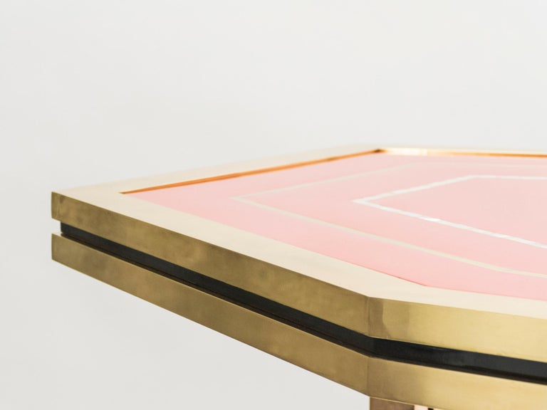 Unique Red Lacquer and Brass Maison Jansen Dining Table or Desk, 1970s For Sale 9