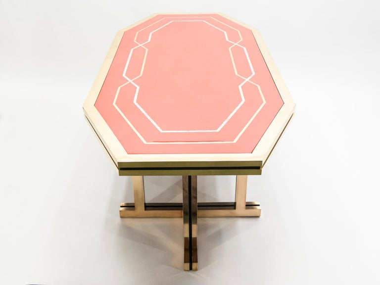 Unique Red Lacquer and Brass Maison Jansen Dining Table or Desk, 1970s For Sale 11