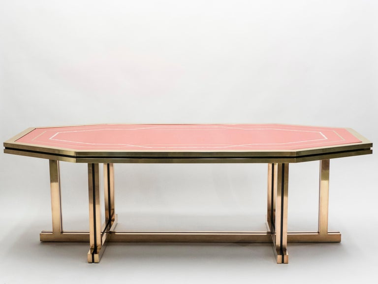 Mid-Century Modern Unique Red Lacquer and Brass Maison Jansen Dining Table or Desk, 1970s For Sale