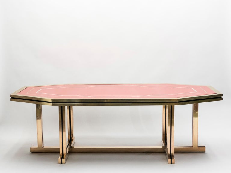 French Unique Red Lacquer and Brass Maison Jansen Dining Table or Desk, 1970s For Sale