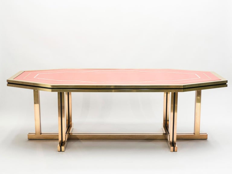 Late 20th Century Unique Red Lacquer and Brass Maison Jansen Dining Table or Desk, 1970s For Sale