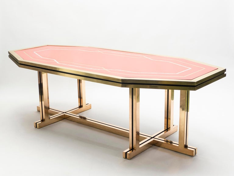 Unique Red Lacquer and Brass Maison Jansen Dining Table or Desk, 1970s For Sale 1