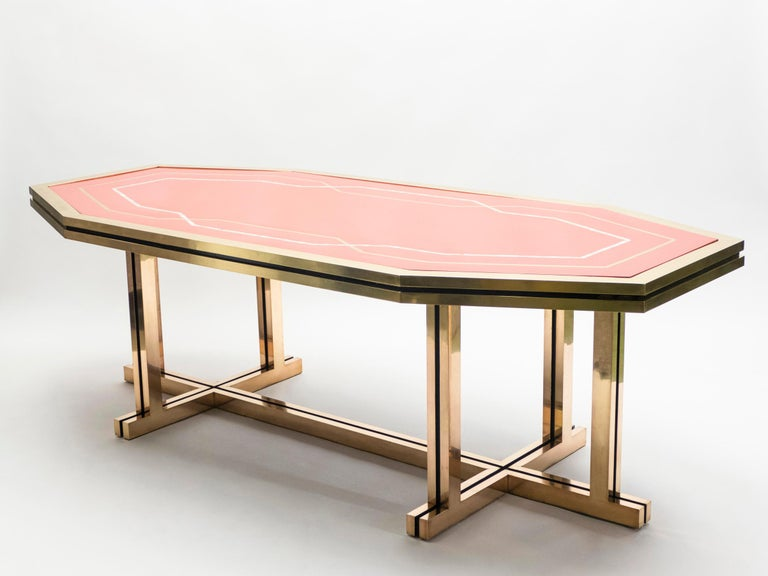 Unique Red Lacquer and Brass Maison Jansen Dining Table or Desk, 1970s For Sale 2