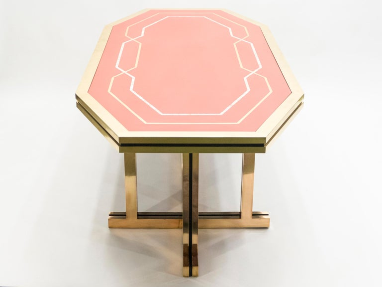 Unique Red Lacquer and Brass Maison Jansen Dining Table or Desk, 1970s For Sale 3
