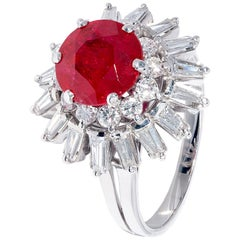 Unique Red Ruby and White Diamond Cluster Ring in White Gold