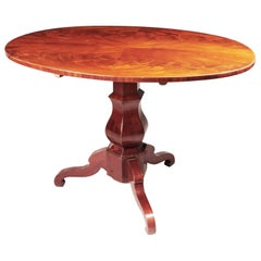 Unique Restored German Biedermeier Mahogany Folding Oval Dining Table, 1840s