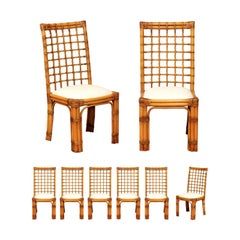 Unique Restored Set of 8 Square Series Dining Chairs by Henry Olko, circa 1979