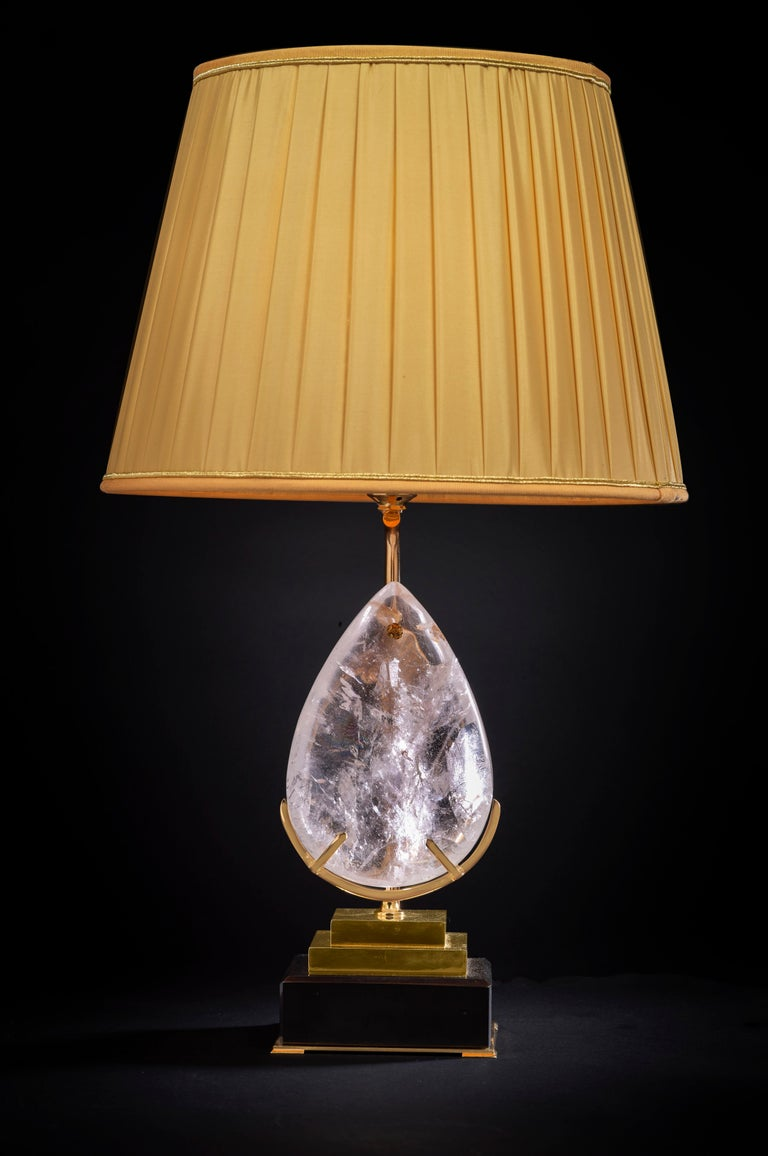 Belgian black marble lamp with an amazing big rock crystal pear.