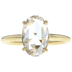 Unique Rose Cut Oval Diamond Engagement Ring