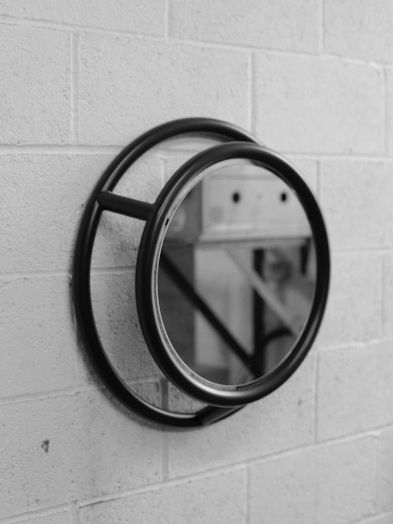 Unique round and round mirror by Kim Thome Dimensions: D 60 cm Materials: Steel, float mirror  Kim Thomé is a Norwegian designer based in London.
