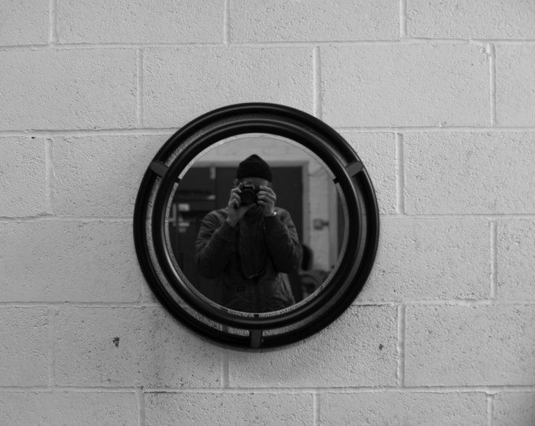 British Unique Round and Round Mirror by Kim Thome For Sale