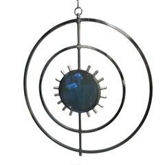 Unique Round Chandelier with Mirrored Center