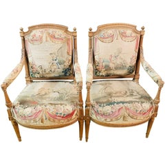 Unique Salon Chairs, France 19th Century, Solid Beech with Oak Tapestry/Gobelin