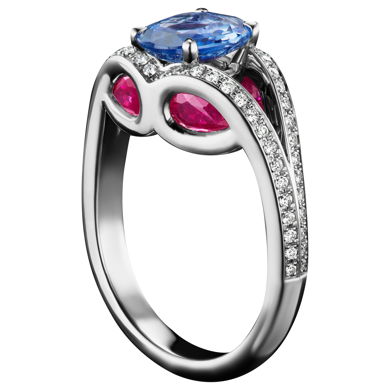 JAG New York Ruby, Sapphire, Tourmaline and Diamond Platinum Ring