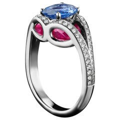 JAG New York Ruby, Sapphire, Tourmaline and Diamond Platinum Ring