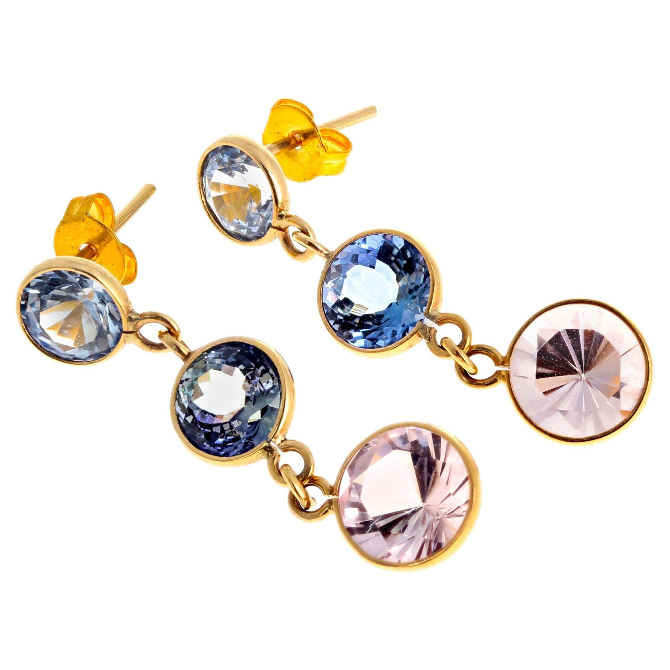 Gemjunky Glittering Swinging Sapphire & Morganite 18Kt Gold Stud Earrings