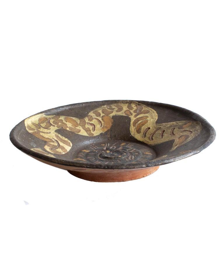 Swedish Unique Scandinavian Modern Studio Bowl with Snake Motives, Artist Hertha Hillfon For Sale