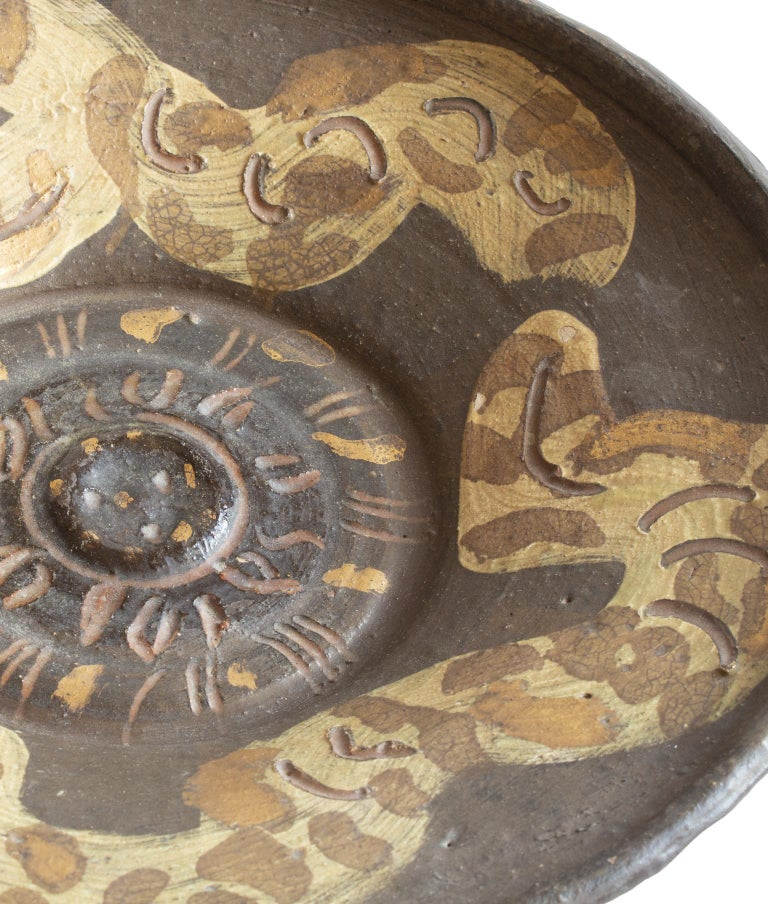 Glazed Unique Scandinavian Modern Studio Bowl with Snake Motives, Artist Hertha Hillfon For Sale