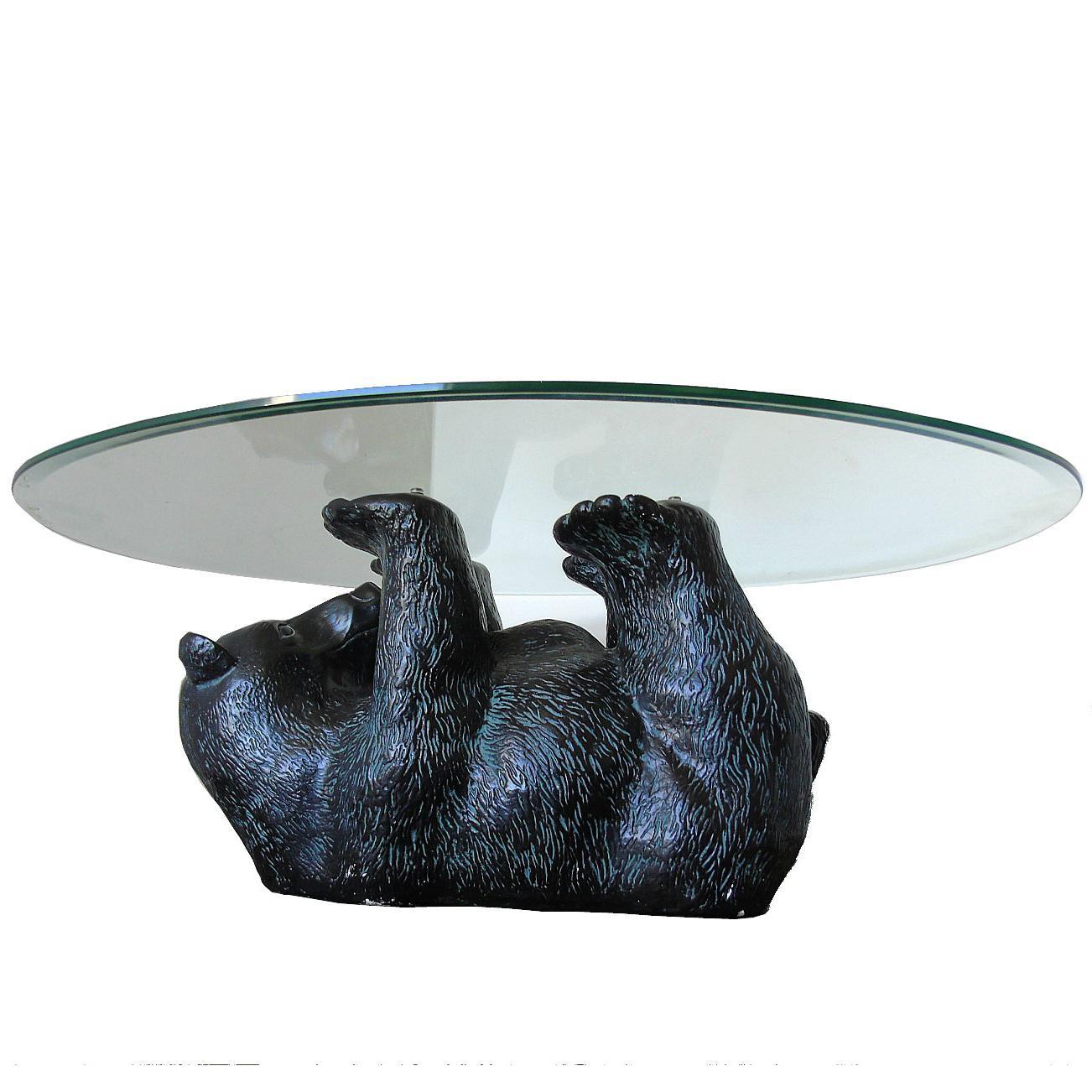 Beau Unique Sculptural Black Bear Coffee Table, 1970s