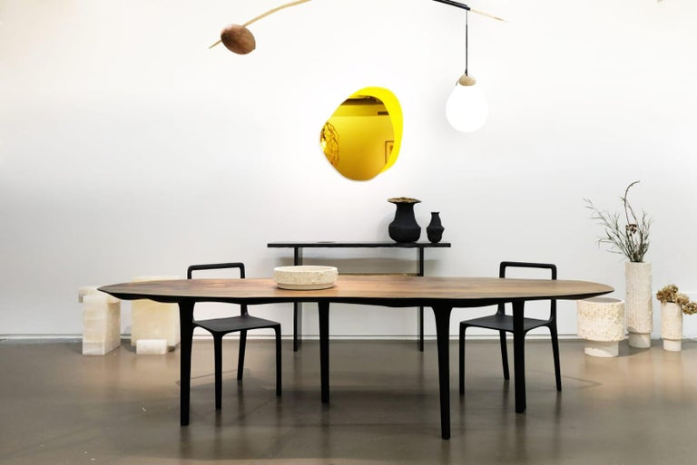 Wood Unique Sculptural Dining Table Signed by Cedric Breisacher For Sale