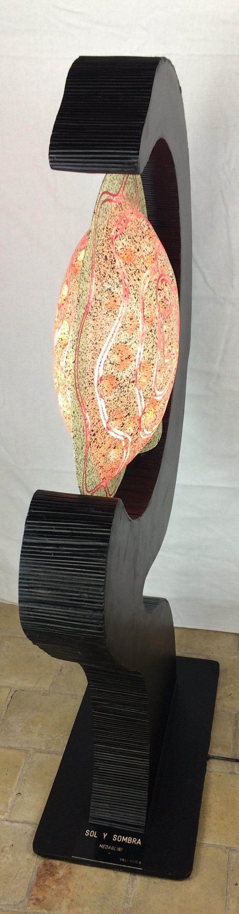 Unique Sculptural Floor Lamp in Ebonized & Bamboo Resin Shade, Signed Medaglini For Sale 4