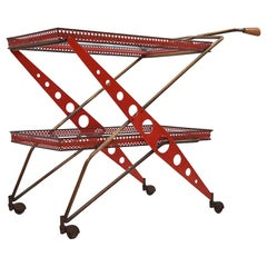 Unique Sculptural Italian Modernist Bar Trolley, 1950s