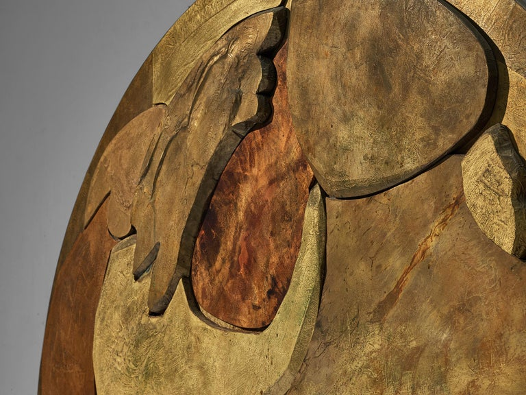 Unique Sculptural Lorenzo Burchiellaro Handcrafted Headboard in Wood and Metal For Sale 4