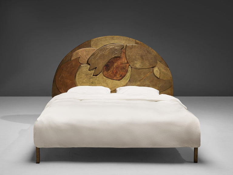 Lorenzo Burchiellaro, headboard, wood, metal, Italy, 1970s  Stunning headboard by Lorenzo Burchiellaro made in the 1970s. Buchiellaro created a truly exquisite headboard with a design out of different pieces of wood placed next and on top of each