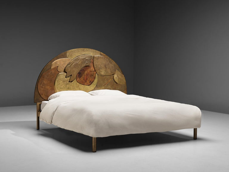 Mid-Century Modern Unique Sculptural Lorenzo Burchiellaro Handcrafted Headboard in Wood and Metal For Sale