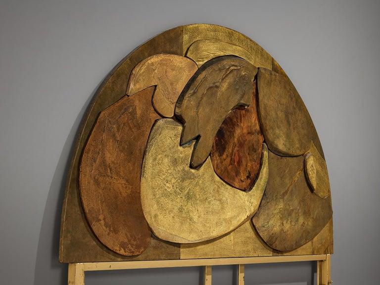Italian Unique Sculptural Lorenzo Burchiellaro Handcrafted Headboard in Wood and Metal For Sale