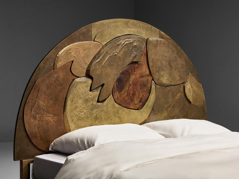Late 20th Century Unique Sculptural Lorenzo Burchiellaro Handcrafted Headboard in Wood and Metal For Sale