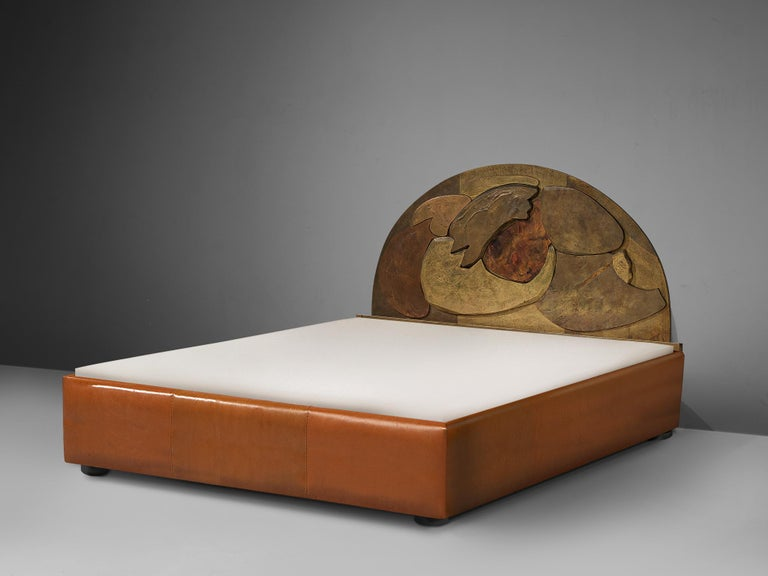 Unique Sculptural Lorenzo Burchiellaro Handcrafted Headboard in Wood and Metal For Sale 1