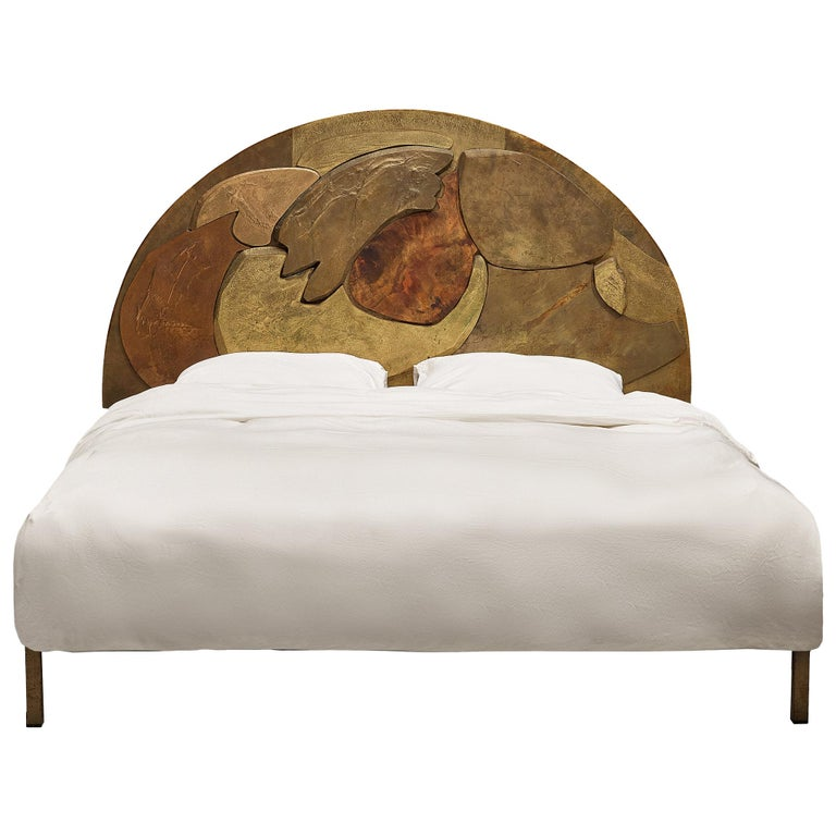 Unique Sculptural Lorenzo Burchiellaro Handcrafted Headboard in Wood and Metal For Sale