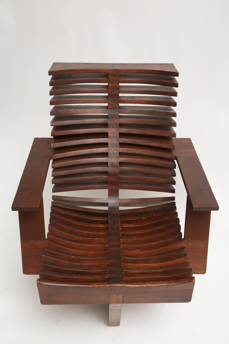 Unique Sculptural Pine Chair For Sale 4