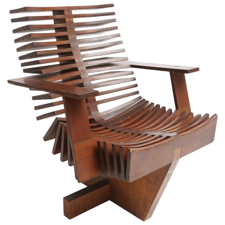 Unique Sculptural Pine Chair For Sale