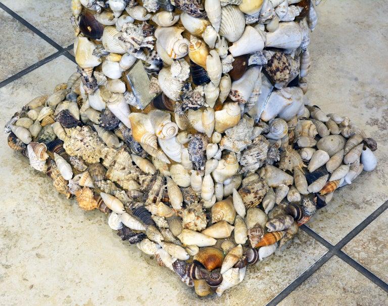 20th Century Unique Sea Shell and Mirror Encrusted Raffia Top Accent Table