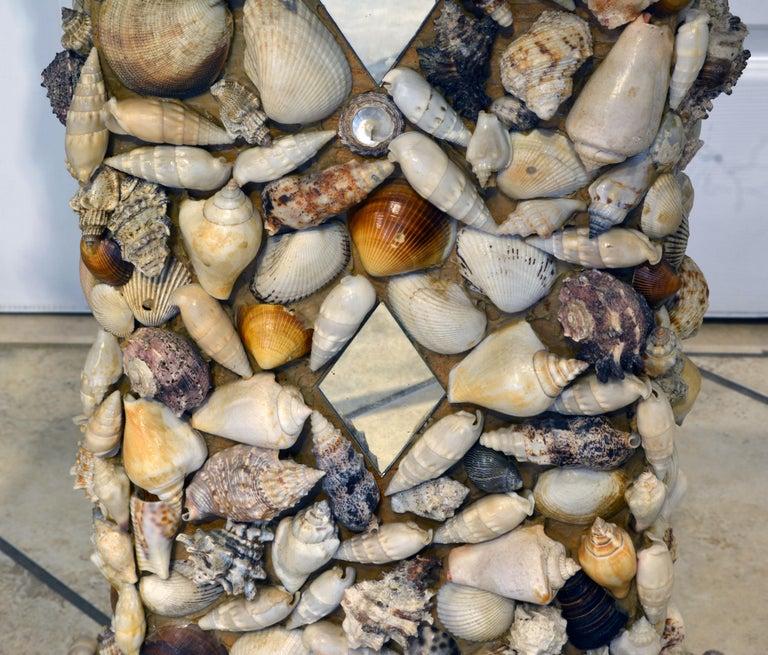 Unique Sea Shell and Mirror Encrusted Raffia Top Accent Table 1