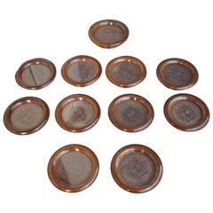 Unique Set of 11 Hand Carved Mahogany Arts & Crafts Coasters with Glass Inserts
