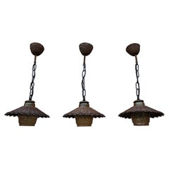 Unique Set of 3 Midcentury Organic Handcrafted Wicker and Glass Pendants Lights