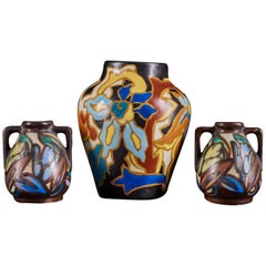 Unique Set of 3 Very Colorful Hand Painted Ceramic Vases with Floral Design