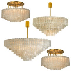 Unique Set of Four Exceptional Huge Doria Ballroom Light Sculptures, 1960