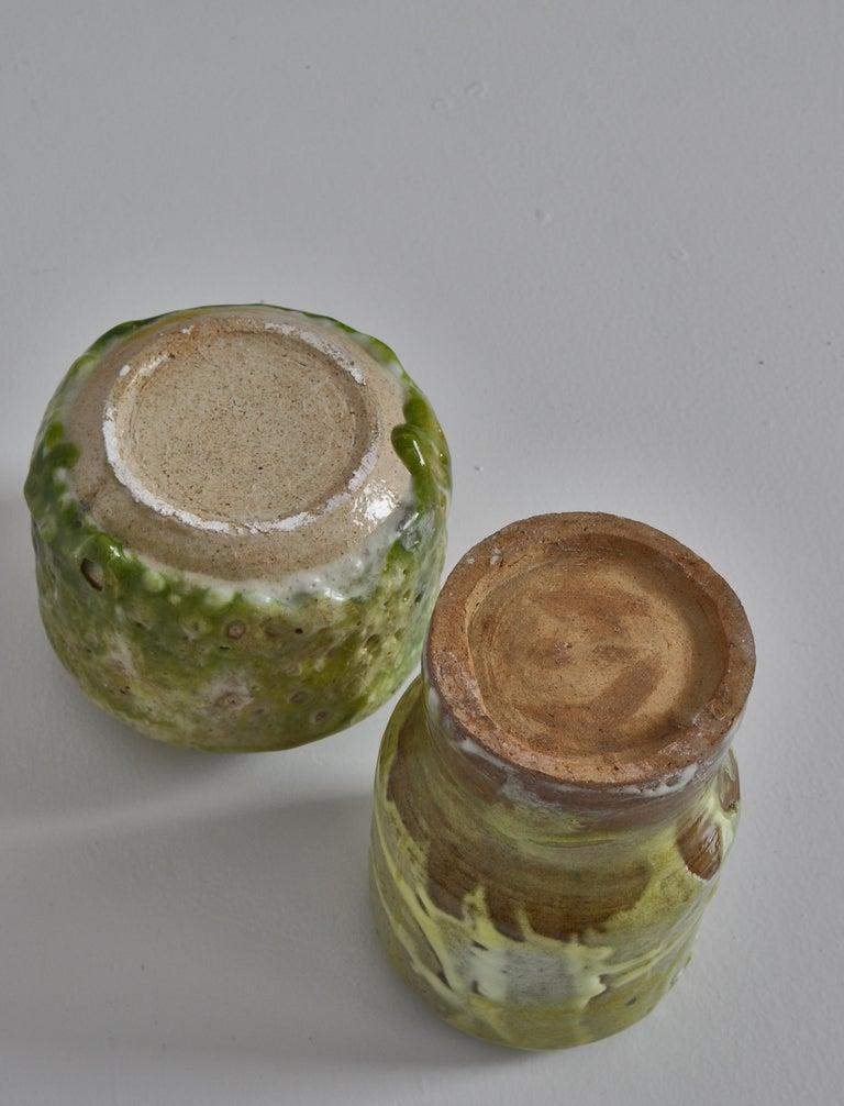 Unique Set of Green Stoneware Vases by Ole Bjørn Krüger, 1960s Danish Modern For Sale 8